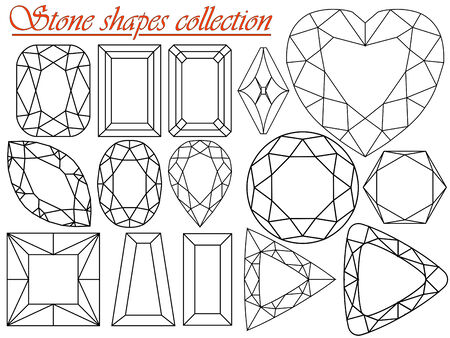 against white: stone shapes collection against white background, abstract  art illustration Illustration