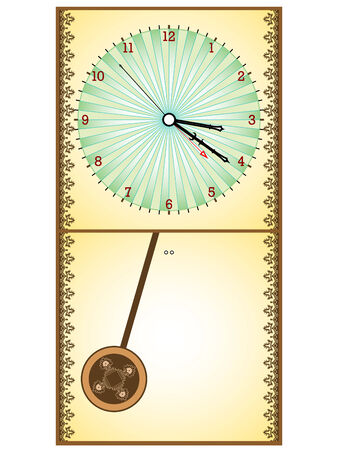 wooden pendule clock against white background, abstract  art illustration