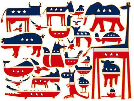 animals  against white background, with stylized american flag, abstract  art illustration Vector