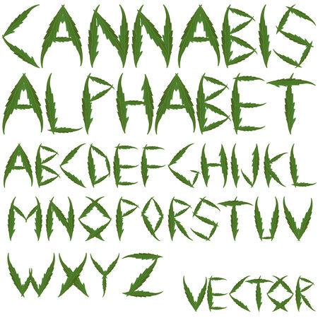 marihuana: Cannabis bladeren alfabet tegen witte achtergrond, abstracte kunst illustratie