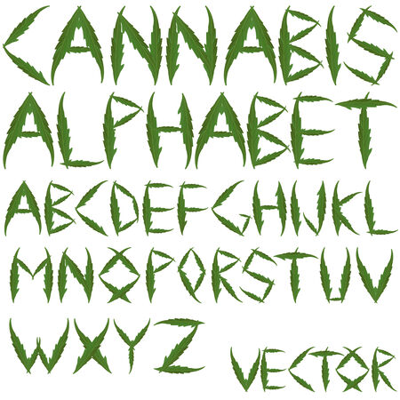 weeds: cannabis leafs alphabet against white background, abstract  art illustration