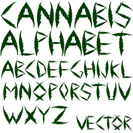 ganja: alphabet de cannabis sur fond blanc, art abstrait