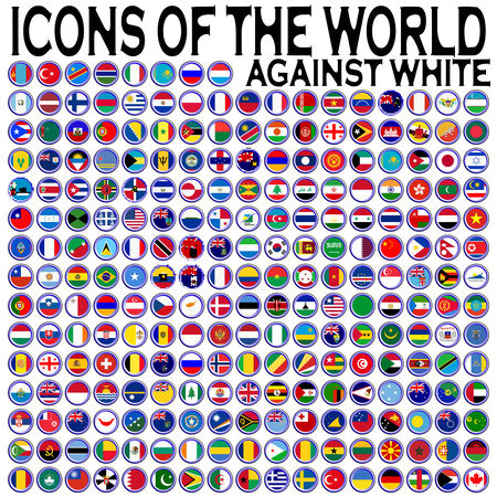 icons of the world against white background, abstract art illustration