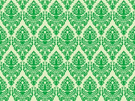green damask seamless texture, abstract pattern Ilustrace