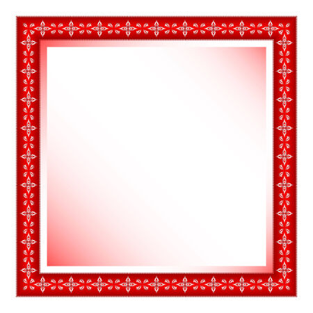 red frame with floral ornament against white background
