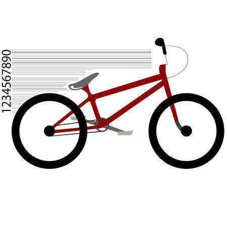 fiets verplaatsen en streepjescode tegen een witte achtergrond