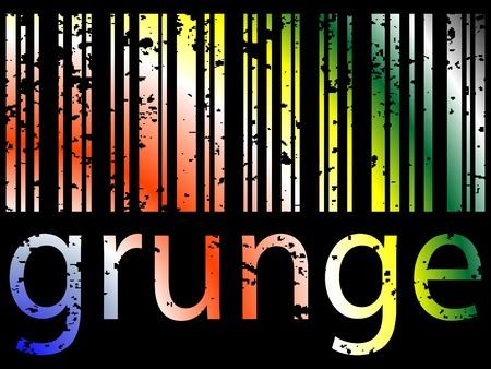 grunge bar code against black background Illustration