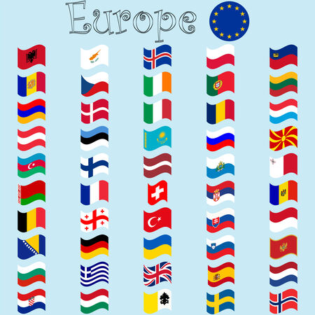 europe stylized flags against blue background Stock Vector - 7165622