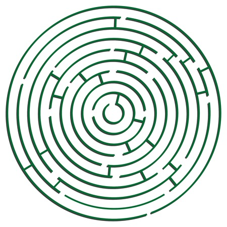 labyrinth: green round maze against white background