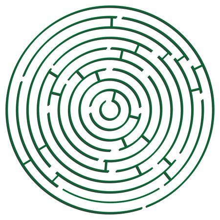 laberinto: verde ronda laberinto sobre fondo blanco