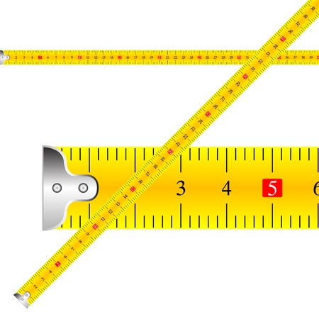 waist weight: measuring tape against white background Illustration