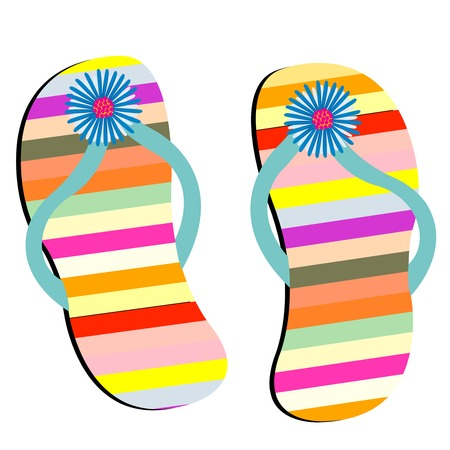 flip flops: beach shoes against white background Illustration