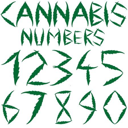 ganja: num�ros de cannabis sur fond blanc  Illustration