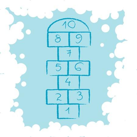 hopscotch and bubbles composition Иллюстрация