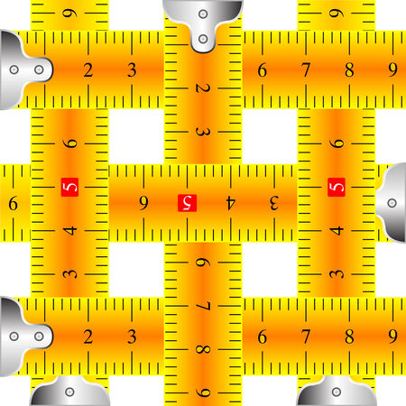 measuring tapes mesh against white background Vector
