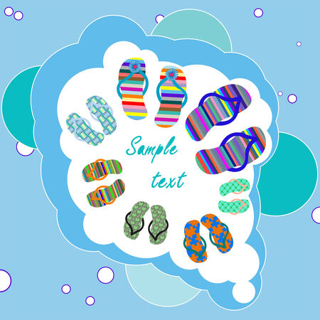 family beach shoes composition with bubbles background Stock Vector - 7231628