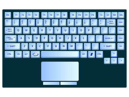 laptop blue keyboard against white background Stock Vector - 7231577