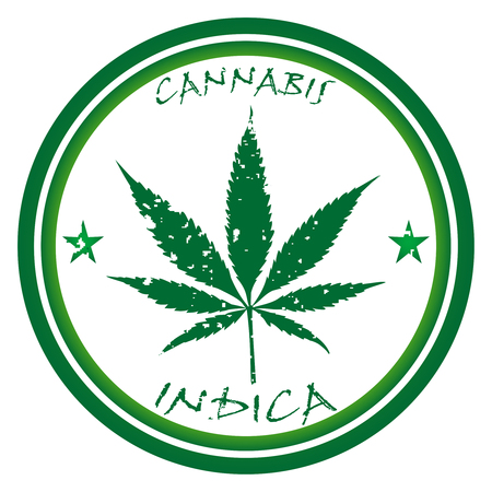 cannabis leaf: cannabis stamp against white background