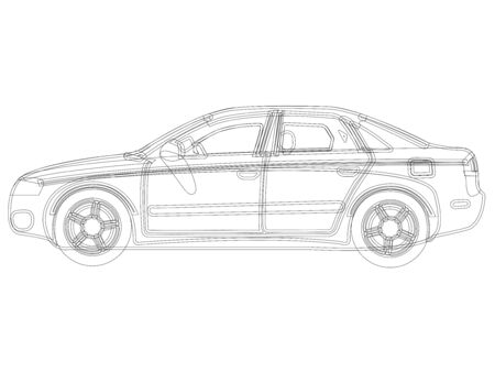 auto sketch against white background, abstract art illustration Vector