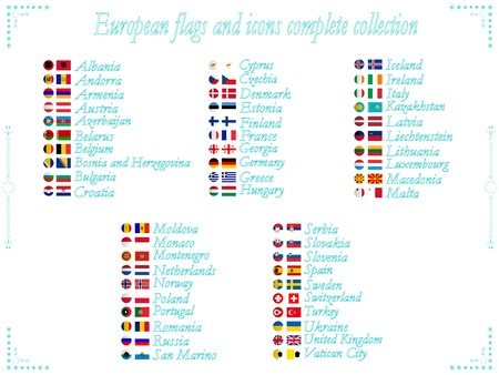 alphabetical order: european flags and icons collection in alphabetical order