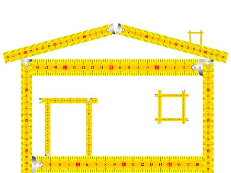 metro de medir: casa hecha de medir la cinta sobre fondo blanco
