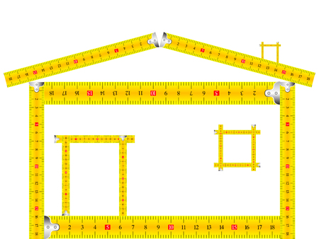 huis gemaakt van meetlint tegen een witte achtergrond
