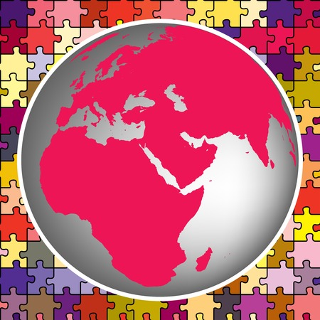 earth globe against puzzle background