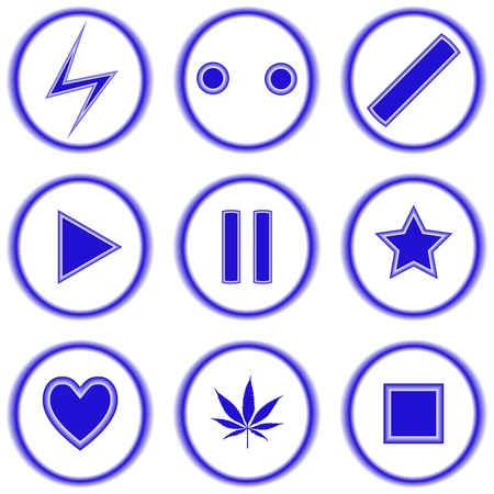 abstract blue icons against white background