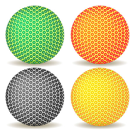 red point: colored balls against white background