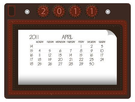 april 2011 leather calendar