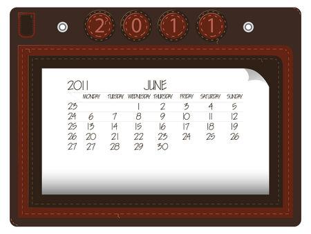 june 2011 leather calendar Illusztráció