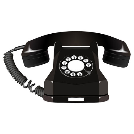 appointments: old telephone against white background