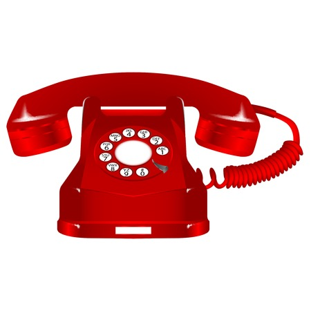 rotary phone: retro red telephone  Illustration