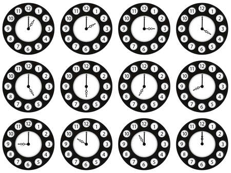 ours: twelve clocks showing different ours against white background  Illustration