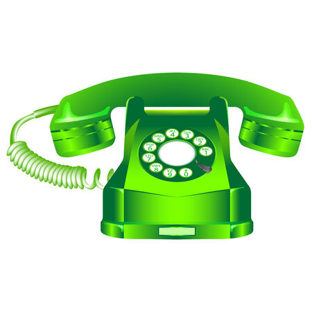 green retro telephone  일러스트