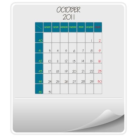 kalender oktober: 2011 papier kalender oktober