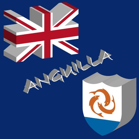 tridimensional: anguilla tridimensional flag, abstract art illustration