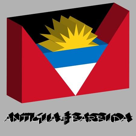 antigua and barbuda 3d flag, abstract art illustration Stok Fotoğraf