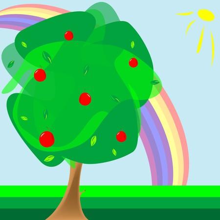 apple tree and rainbow, abstract composition, art illustration illustration