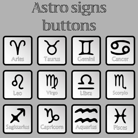 astro signs buttons, abstract art illustration illustration