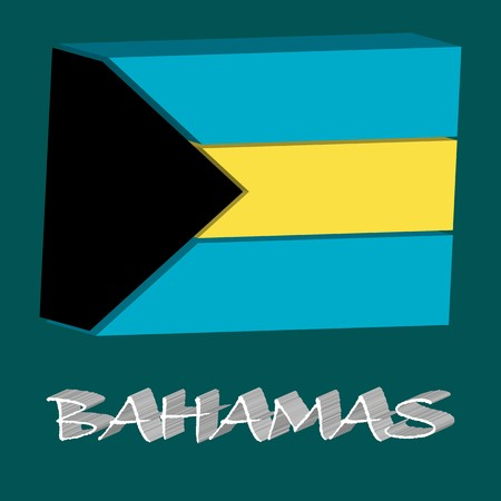 tridimensional: bahamas tridimensional flag, abstract art illustration
