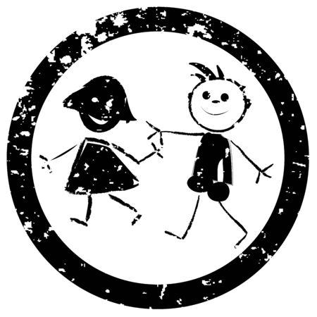 Beautiful kids stamp, art illustration, more stamps in my gallery