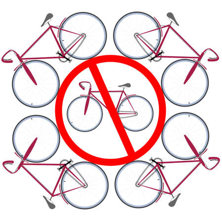bicycles not allowed here. art illustration.