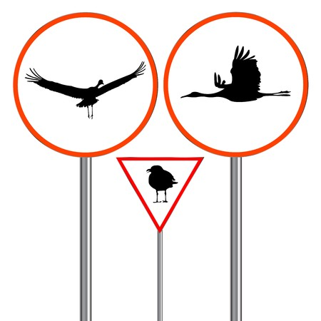 birds traffic signs isolated on white background, abstract art illustration Stock Illustration - 7323742