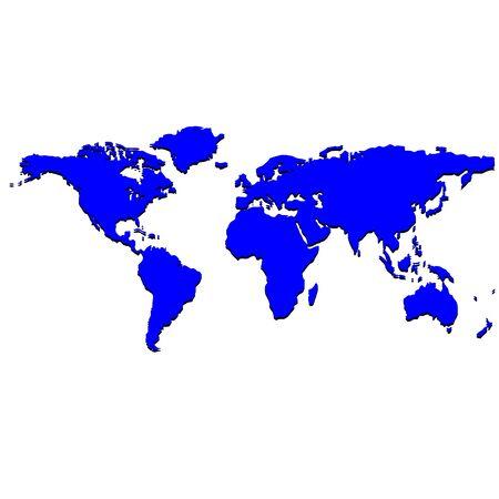 blue world map, art illustration