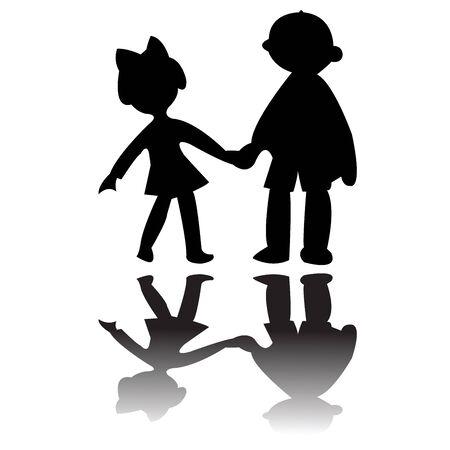 boy and girl silhouettes, art illustration illustration