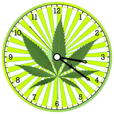 cannabis clock, abstract art illustration Stock Photo