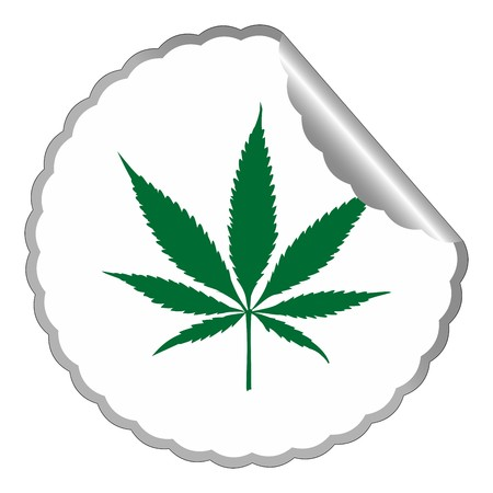cannabis leaf label against white background, abstract art illustration