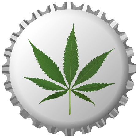 cannabis leaf on bottle cap against white background, abstract art illustration