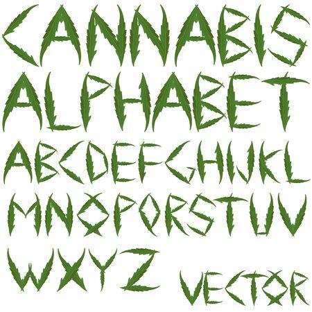 ganja: cannabis leafs alphabet against white background, abstract art illustration Stock Photo